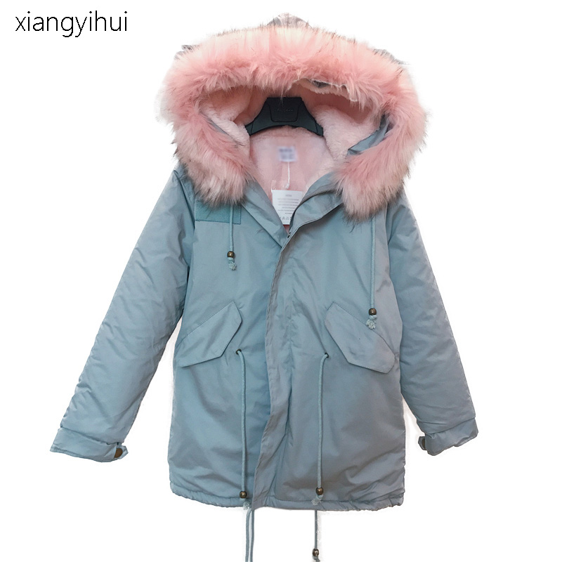 Winter Faux Fur Collar Thick Hoodie Drawstring Coat Autumn Long Sleeve Zipper Hooded Blue Parka Women Warm Jacket Basic Coat чехлы для телефонов nillkin чехол nillkin sparkle leather case для samsung g7106 7102 galaxy grand 2