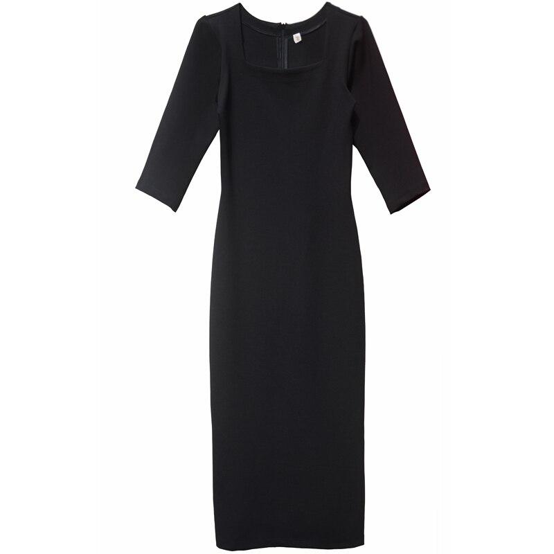 Free Shipping 2019 New Plus Size XS-10XL Long Mid-Calf Dress Autumn Three Quater Sleeve Dress Black Customized Formal Dresses