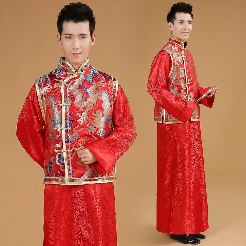 Kinesisk Manlig Bröllopsklänning Mans Tang Suit Man Kinesisk Röd - Nationella kläder - Foto 2