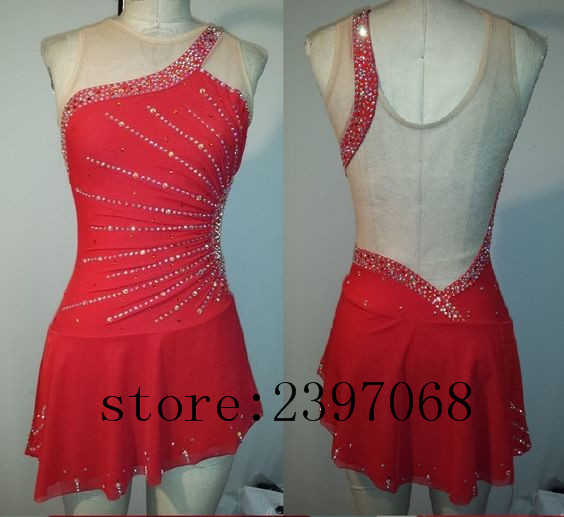 Figure Skating Dresses Red Girls Custom Ice Skating Dress Expensive Ice Skating Dress Women Competition Skating Skirt N54