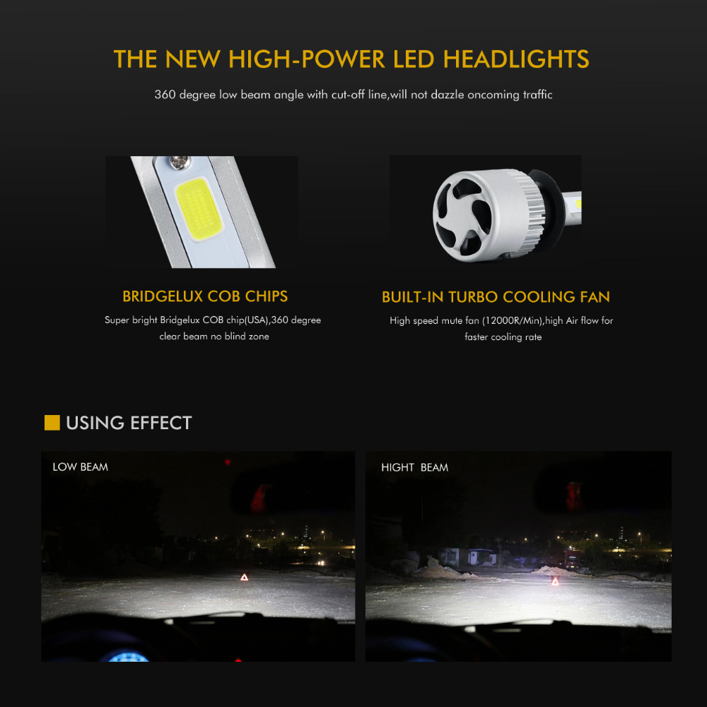 Auxmart 2Pcs 72W 8000lm H11 H4 Λαμπτήρες - Φώτα αυτοκινήτων - Φωτογραφία 4