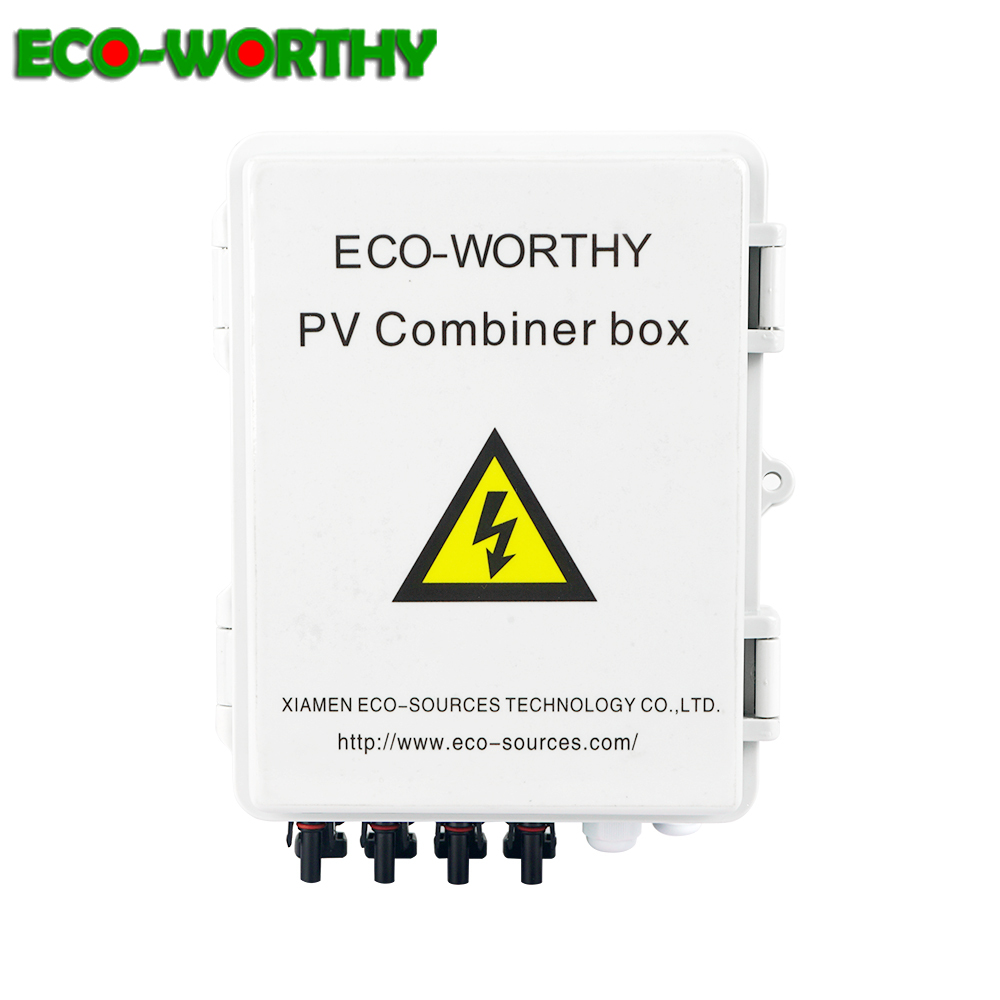 Eco Safe 4 String PV Solar Combiner Box 12A circuit breaker control for solar power panel