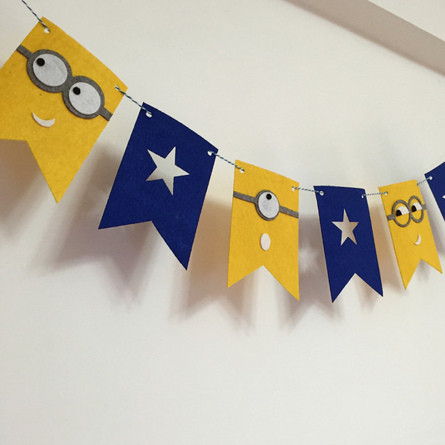 Party Girlande Yellow Minions Fahnen Bunting Banner Baby Dusche