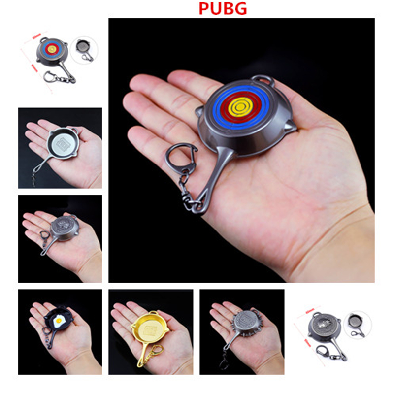 Game PUBG Playerunknown's Battlegrounds Level 3 Frying pan Saucepan Keychain Cosplay Props Metal Key ring Pendant Kid Adult Gift