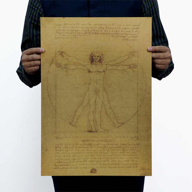 Leonardo Da Vinci Manuscripts Vitruvian Man VINTAGE กระดาษคราฟท์โปสเตอร์ภาพยนตร์โฮมออฟฟิศตกแต่ง Art นิตยสาร