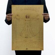 Leonardo Da Vinci manuscritos Vitruvian hombre papel Kraft clásico película póster Hogar Escuela Decoración de pared Oficina revistas de arte