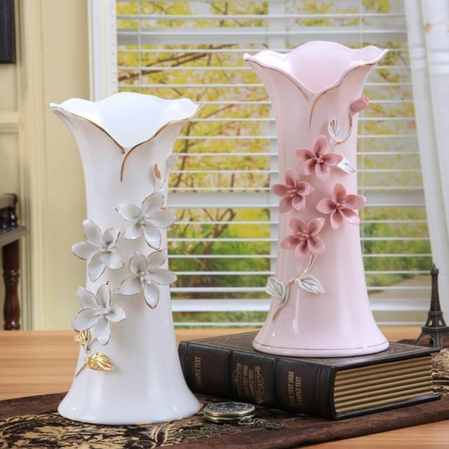 Keramik Weiss Rosa Blumen Vase Wohnkultur Grosse Bodenvasen Fur