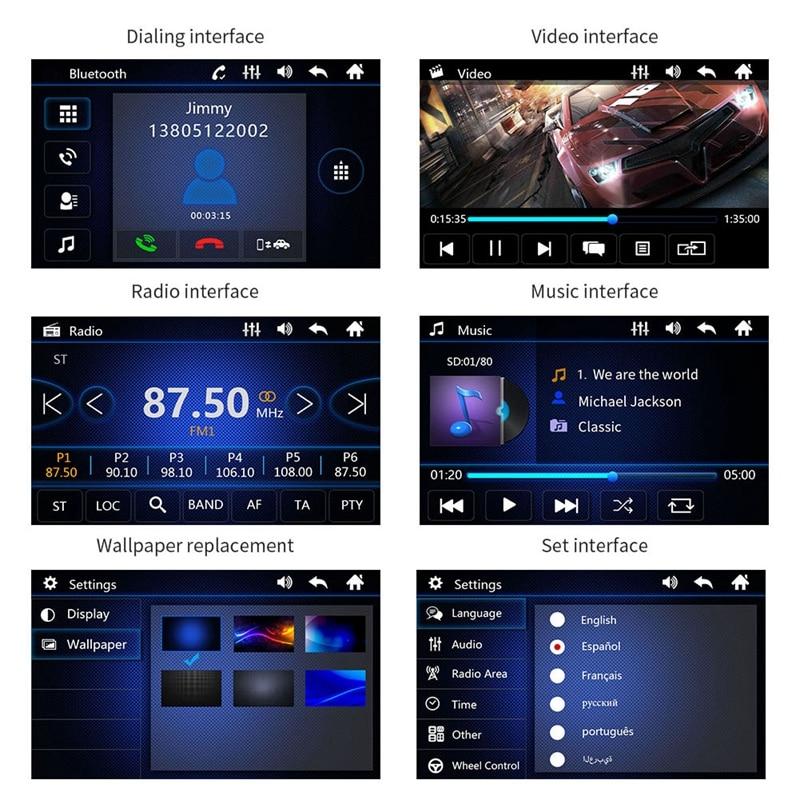 1 DIN 7 дюймов Автомобильный стерео радио аудио MP5 плеер Bluetooth/USB/TF/Aux/сенсорный экран авто-радио кассетный плеер зеркальное соединение
