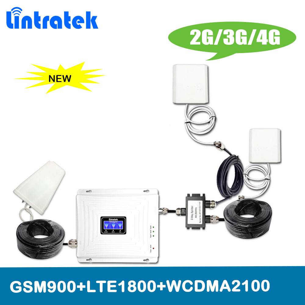 2 Antennas Lintratek Set Tri Band Repeater 2G 3G 4G 900 1800 2100MHz Mobile Phone Signal