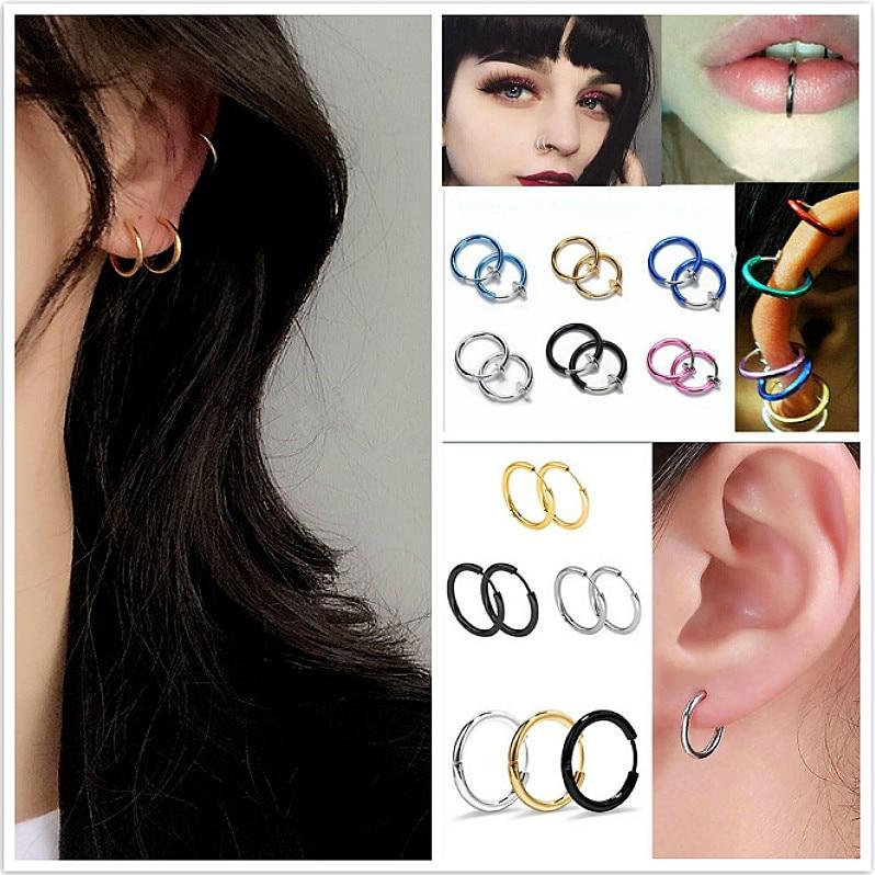 Hoop Nose-Ring Piercing Septum-Clip Gold Silver Titanium Women Fashion for Girls Medical