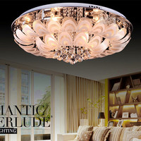 Wholesale Round Crystal Lamps Led Peacock Modern Minimalist Living Room Ceiling Lights Bedroom Lamp Restaurant