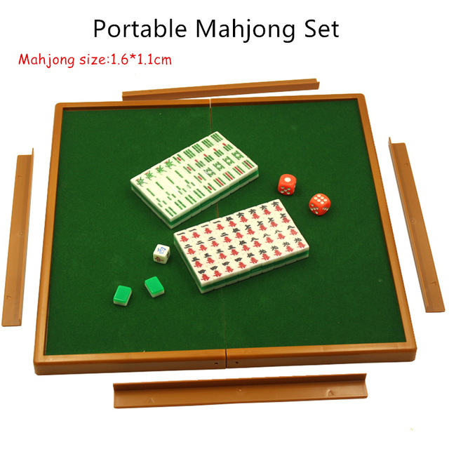 Mini Mahjong Portable Travel Board Game With Foldable Table Chinese Mahjong  Set Small Size Mahjiang Tiles