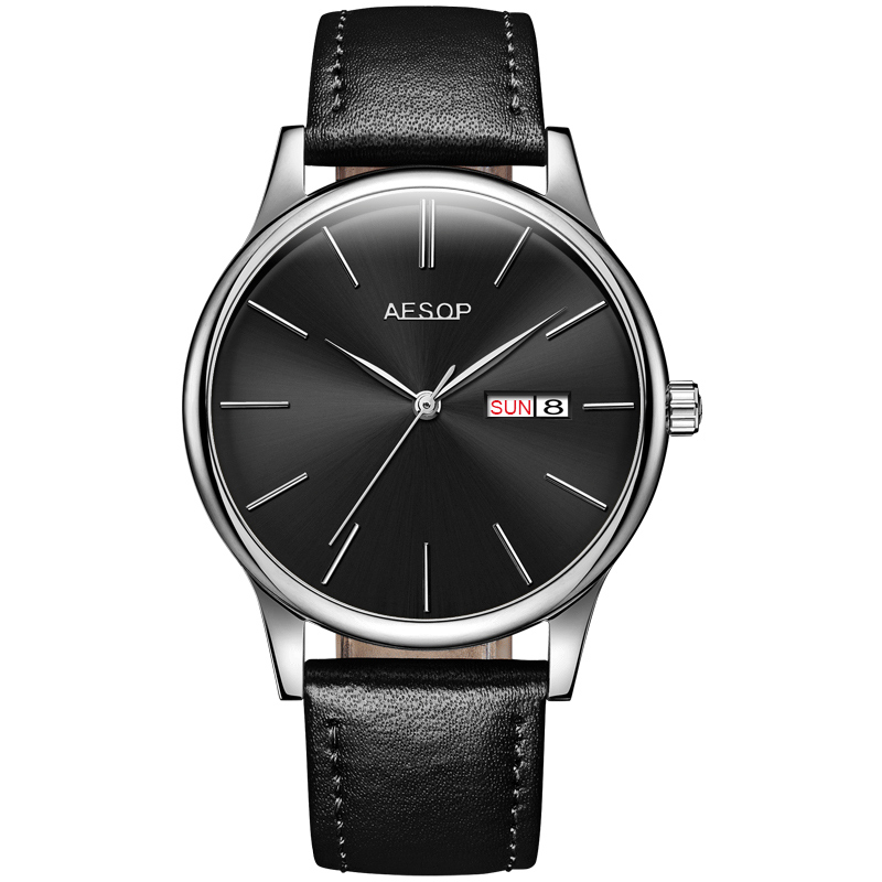 AESOP 8.5mm Ultra thin slim Simple Casual Men watches top brand luxury Male Clock Relogio Masculino Black leather face hours