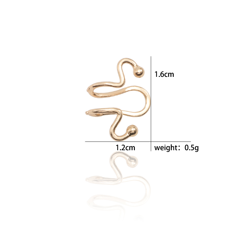 Sleek Minimalist Snake Bone Earrings Exaggerated Match Head Curve Shape Geometric Ear Clips Popular Earless Earrings Jewelry in Stud Earrings from Jewelry Accessories