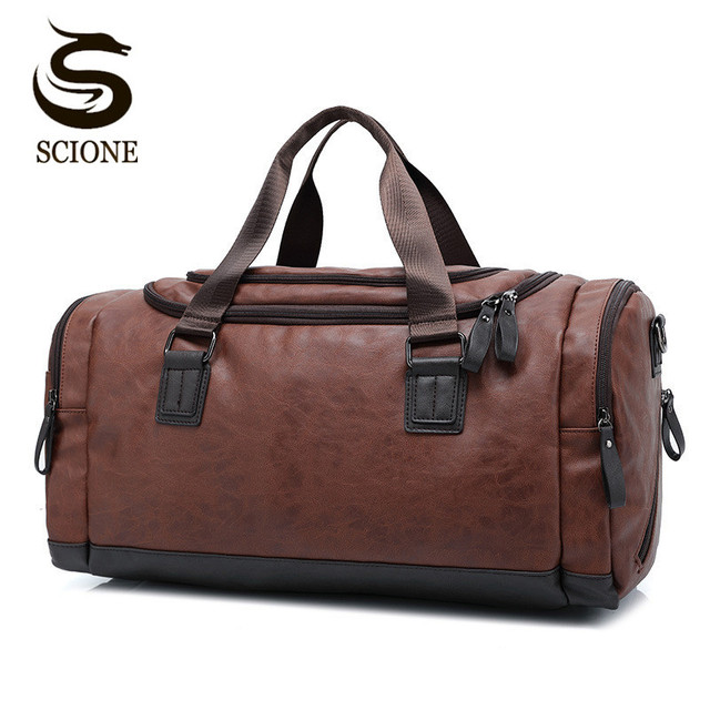 Top Quality Casual Travel Duffel Bag PU Leather Men Handbags Big Large  Capacity Travel Bags Black ffdf35d2db