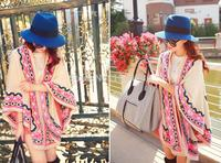 Hot Sale Women Vintage Open Front Poncho Shrug Eye Indian Cardigan Gypsy Hippie Boho Chic Sweater