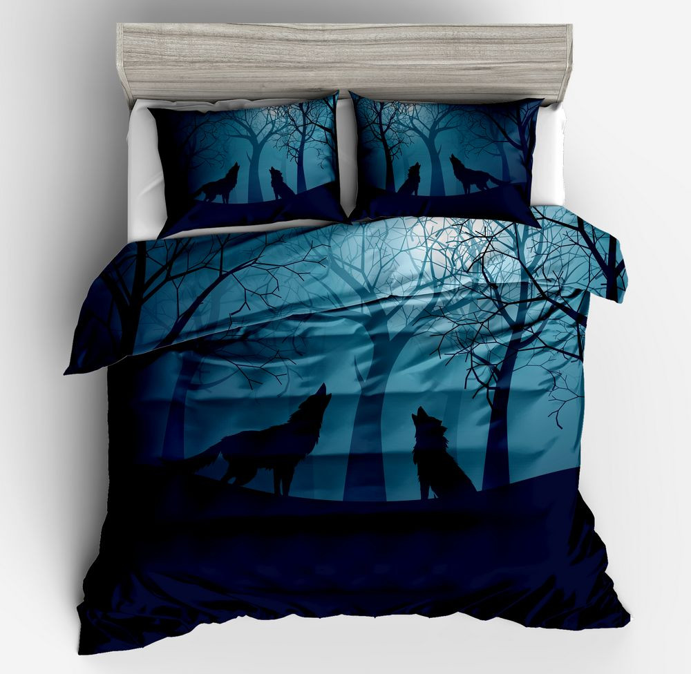 2018 Hot sell 3d cartoon flue black Bedding Set 3D tree moon Brightly colored Duvet Cover Pillow cases twin full queen king size2018 Hot sell 3d cartoon flue black Bedding Set 3D tree moon Brightly colored Duvet Cover Pillow cases twin full queen king size