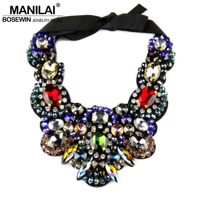 Fashion Charm Jewelry Multicolor Crystal Necklace Statement Chokers Bib Collar Big Necklaces For Women Evening Dress 2016