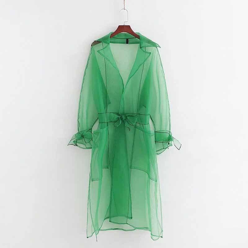 Elegant Female Organza Mesh Coat Ladies Long Sleeve Transparent Jackets Women Tailored Collar See Through Tops