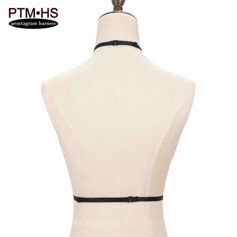 Arnés blanco elástico sujetador jaula bondage strappy Crop tapas Lencería marco fetiche Rave wear erótico gótico Harajuku liguero cinturón