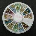 1 PCS 6 cm Roda Encaixotado 120 PCS Mix 6 Cores de Opala 4 MM Pointback Vidro Strass Cristal Prego 3D Art Artesanato DIY Telefone decorações