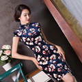 TIC-TEC women qipao autumn velvet short sleeve chinese traditional dress cheongsam sexy short qipao print P2399