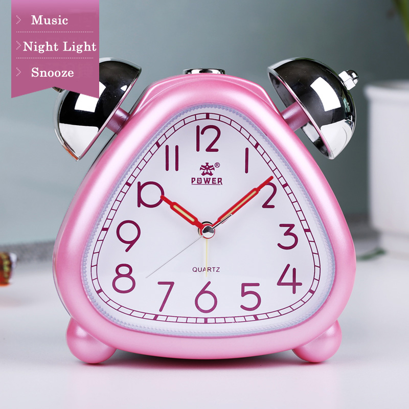 POWER Alarm Clock Twin Bell Carton Non-Ticking Quartz Music Alarm - Dekorasi rumah - Foto 3