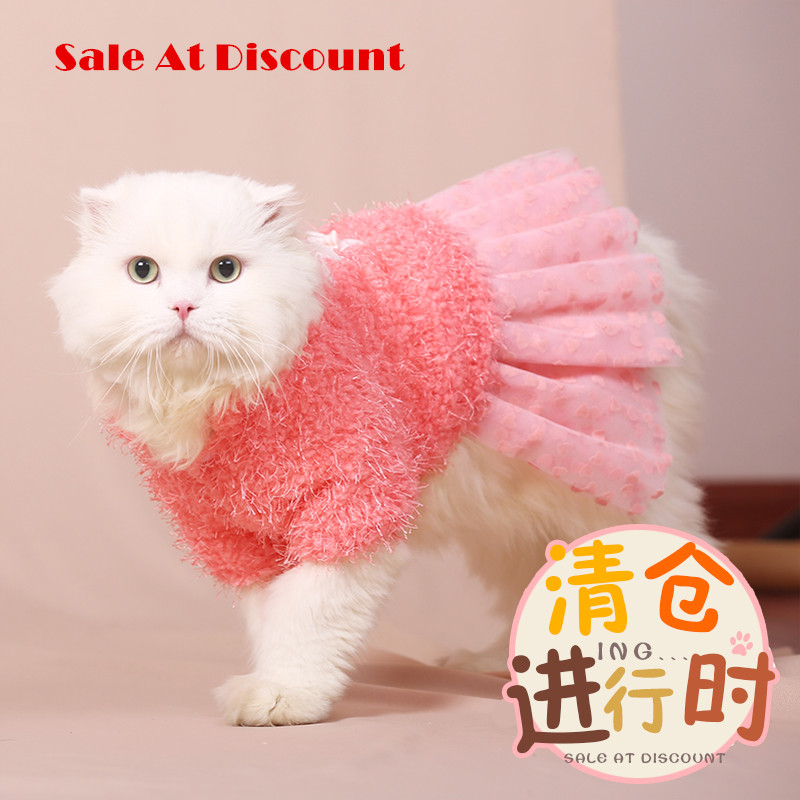 Lovely Puppy Cute Princess Cat Dress Warm Autumn Winter Clothes Cat Milk British Short Garfield Cat Winter Clothes