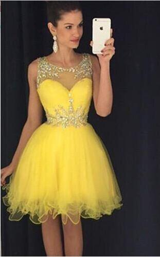 Popular Short Yellow Cocktail Dress-Buy Cheap Short Yellow ...