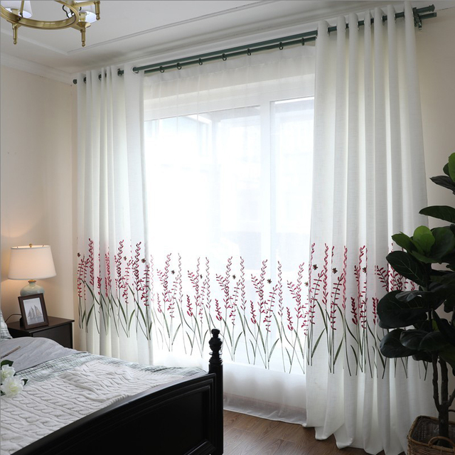Cotton Linen Embroidered Lavender Curtains For Living Room Tulle Kitchen Windows Bedroom Past