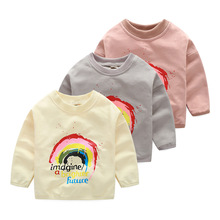 Spring new Rainbow printed Cute Girls T Shirts long Sleeves for Kids Clothes Baby boys hoodies Toddlers Tops Tees sweatshirt