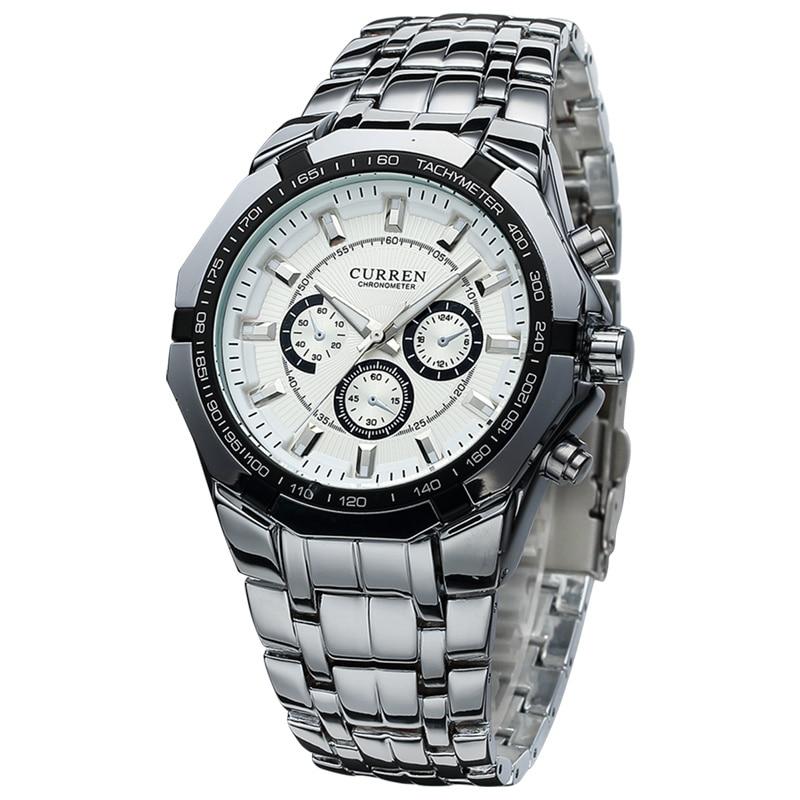 все цены на  CURREN Top Brand Luxury Men Quartz Sport Watch Military Wristwatches Casual Full Steel Men Watches  relogio masculino 8084  онлайн