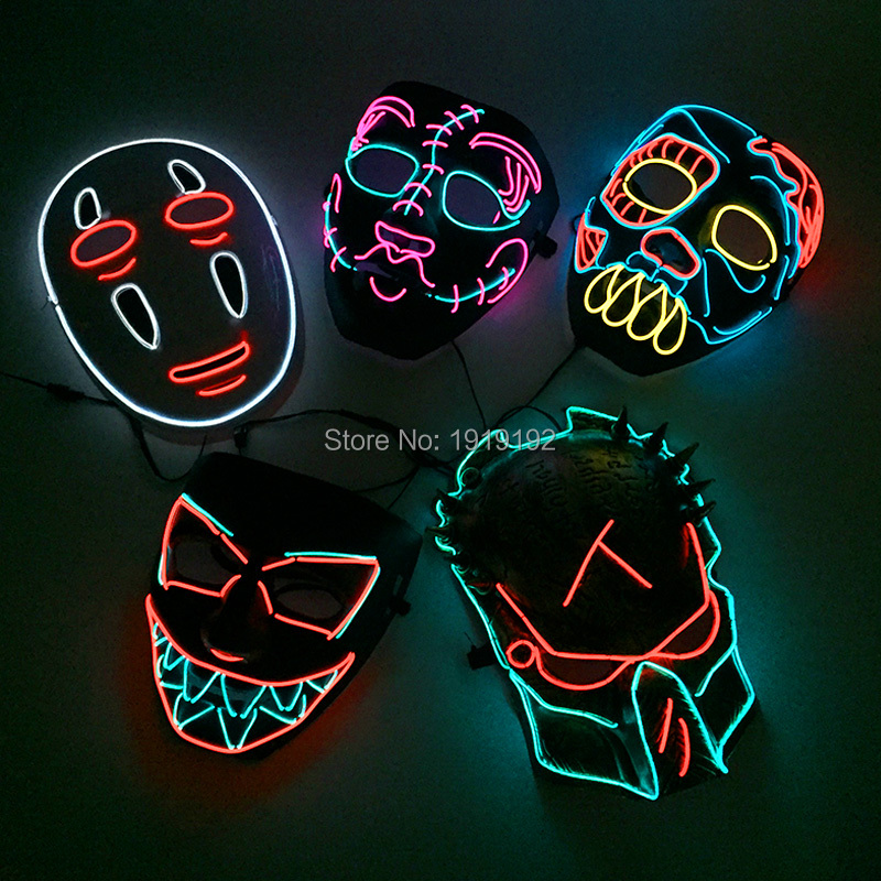 2018 New Style EL Mask Energy saving Colorful Select el wire mask by 3V Sound Active For Halloween holiday Party Mask Decoration