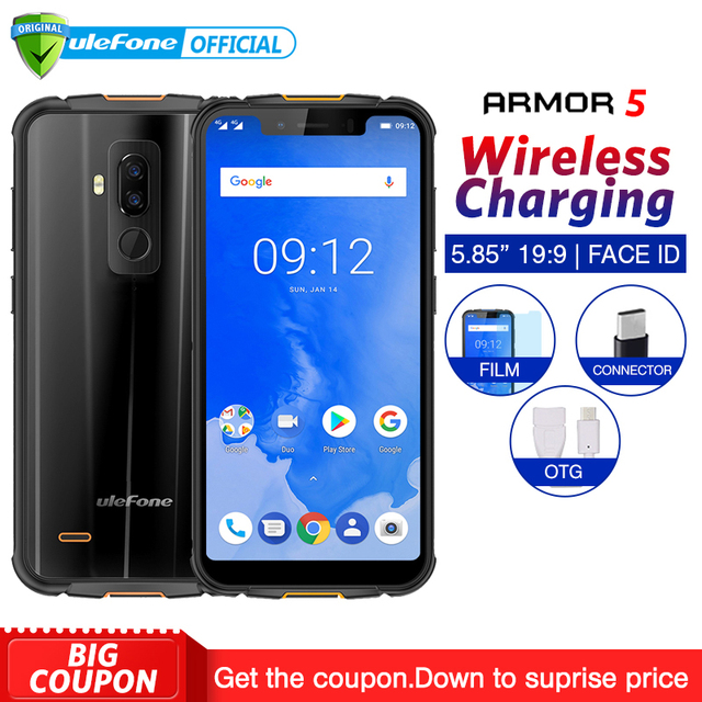 "Ulefone Armor 5 IP68 Waterproof Mobile Phone Android 8.1 5.85"" HD+ Octa Core 4GB+64GB NFC Face ID Wireless Charge 4G Smartphone"