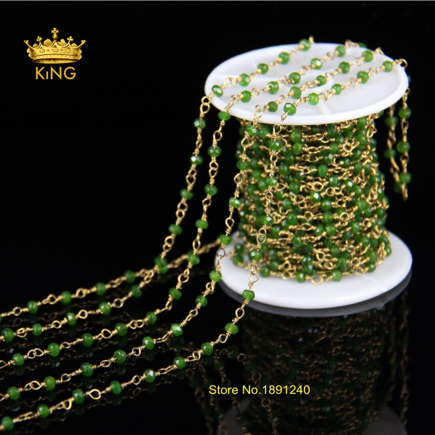 3x4mm Maylasian Jade Rosary Style Beaded Chain BULK Wholesale Beads Wire Wrapped Antique Bronze Plated Chain