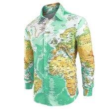 04f00ac23ca Hombres 3D mundo mapa imprimir manga larga botón oculto abajo solapa  Camisas Casual Hombre verano Hawaii Tops Chemise Homme Manc.