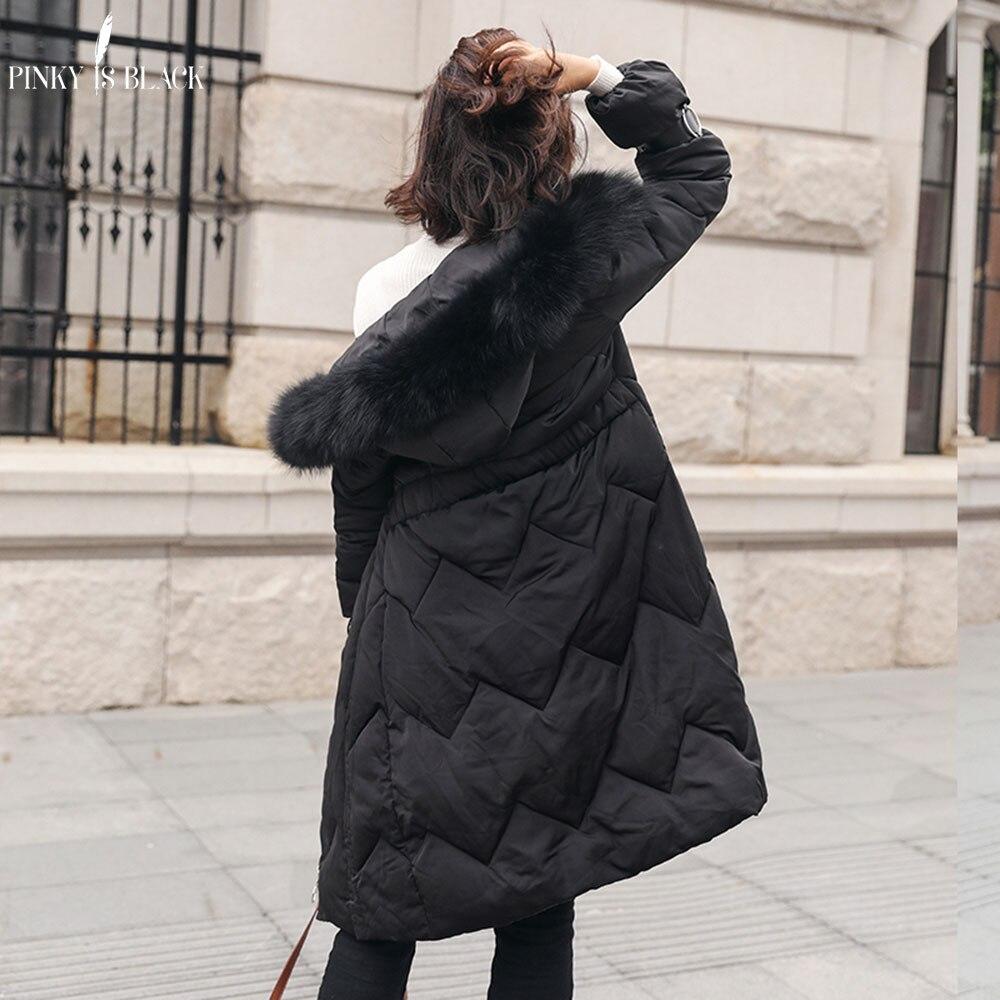 Femmes Hiver Grande Porter Rembourré Longue Coton De Plus Et Fourrure Col Capuchon À Mode Femme Manteaux champagne Parkas Neige Vestes Nouveau 2018 Pinkyisblack Noir q0Pv1