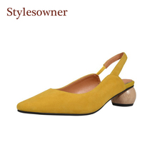 Stylesowner 2019 New Arrival Spring Suede Leather Sandal Shoe Pointed Toe Shallow Mouth Elegant Round Heel Slingback