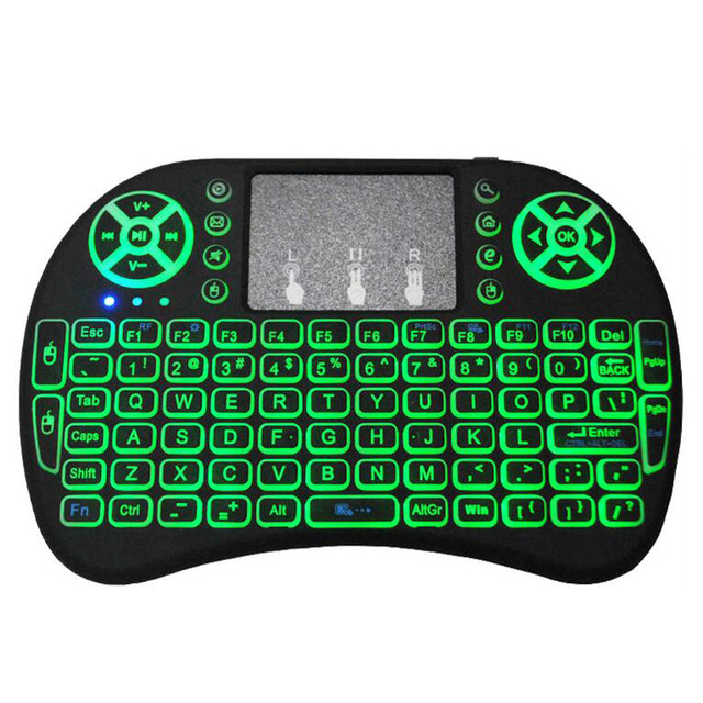 i8 Mini 2 4G Wireless Keyboard Touchpad Color Backlit Air Mouse Russian Spanish For Android