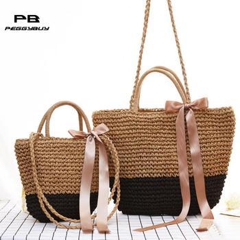 Summer Women Ribbon Bowknot Shoulder Bag Bohemian Woven Beach Straw Bag Female Boho Beach Totes Handbags bolsos mujer 2019 New