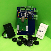 TCP/IP One Door RFID Access Control System Single Door Access Panel LAN Interface Access Controller+ Rfid Reader + eixt Button