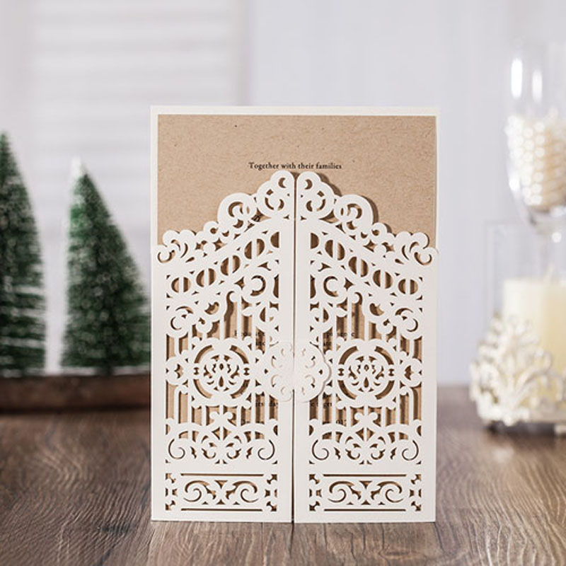 100Pcs Hollow Flower Laser Cut Wedding Invitation Card Greeting Card Personalized Custom Print Wedding Event Party Supplies 50pcs gold red laser cut hollow flower marriage wedding invitation cards 3d card greeting cards postcard event party supplies