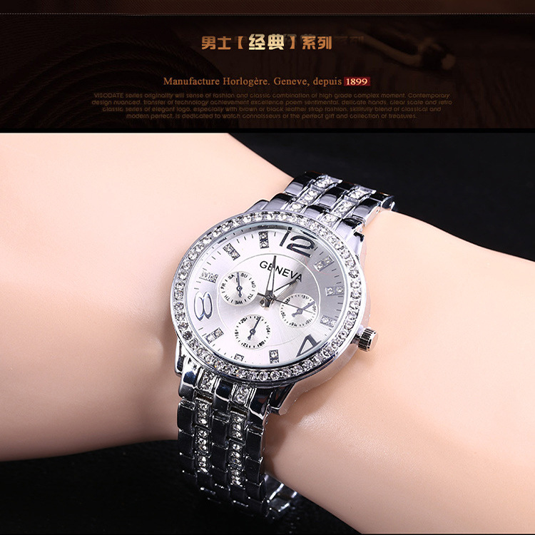 Quartz watch Fashion alloy business diamond watch ladies gold steel belt Alloy Quartz Round Sapphire Crystal Limited Edition in Women 39 s Watches from Watches