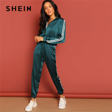 c5ce77f5 SHEIN Green Zip Up Striped Tape Jacket And Drawstring Pants Satin Tracksuit  Women Spring Casual Streetwear