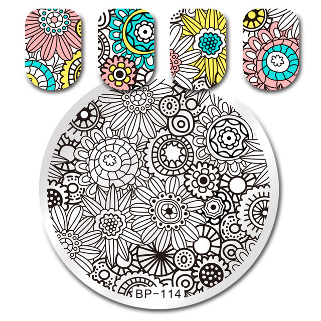 Born Pretty Mixed Abstract Stamping Template Plants Tribal