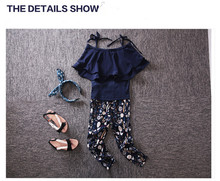girls summer clothes set new fashion shoulderless shirt and floral pants suit outfit clothing for children and kids