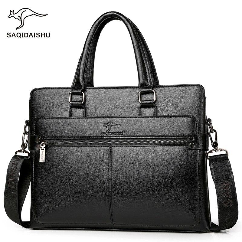 Men's Leather Briefcase PU Material 14inch Men's Shoulder Bag For Men Crossbody Bags 2019 Fashion Bussiness Briefcase Handbag