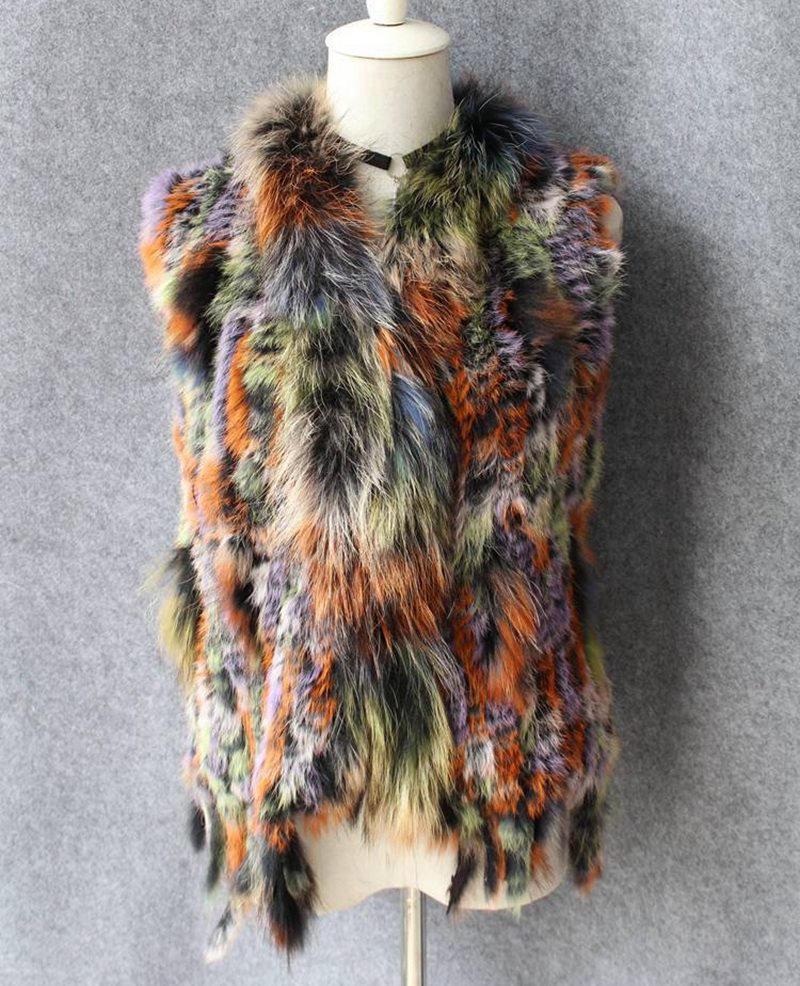 Survêtement couleur Collier Glands De Réel as Avec Lf5061 Laveur Lady Picture As Picture Fourrure Raton Gilet Femmes Lapin Tricoté Multi 6vq4Ad74