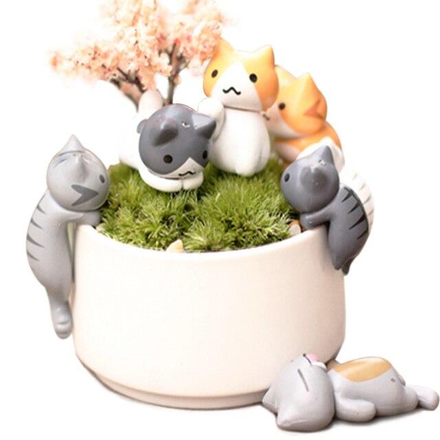 Cute Cate Flower Pot Micro Landscape 6pcs /Set Cat Backyard Figure Dollhouse Miniatures Home Decoration