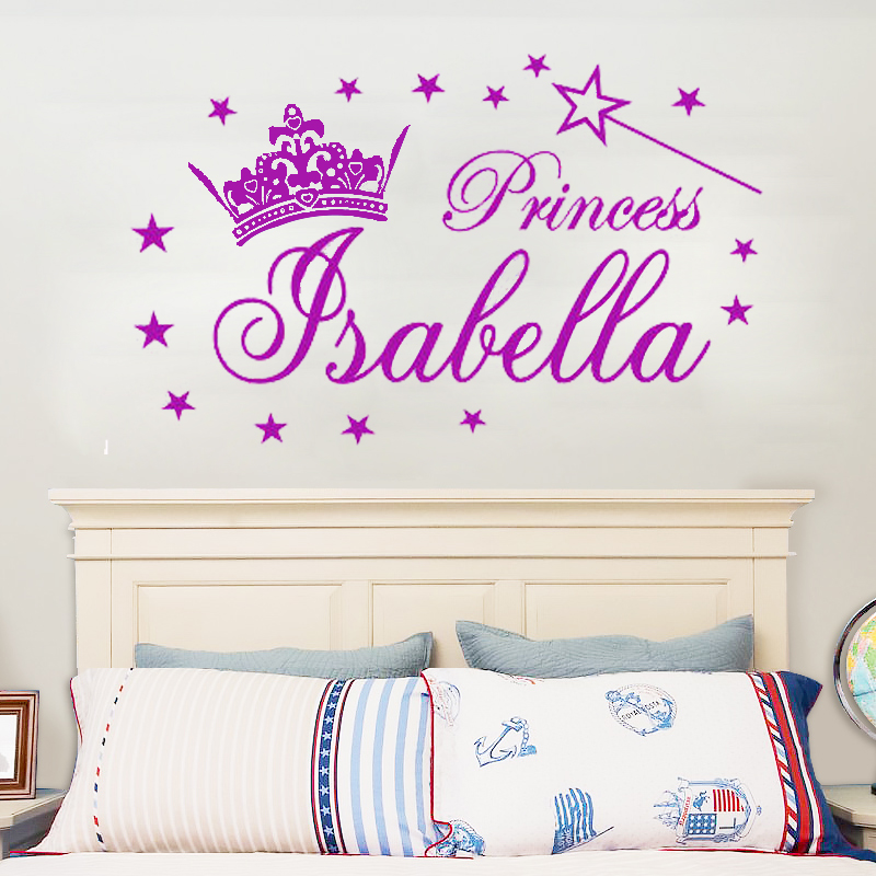 g291 personalized name princess tiara magic wand girl wall stickers decals vinyl diy girl. Black Bedroom Furniture Sets. Home Design Ideas